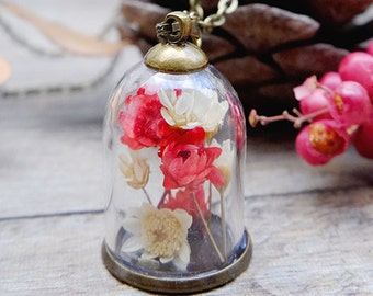 Real flower terrarium necklace, dried flowers jewelry, gift for her, real plant necklace, flower jewelry, natural flowers, garden necklace