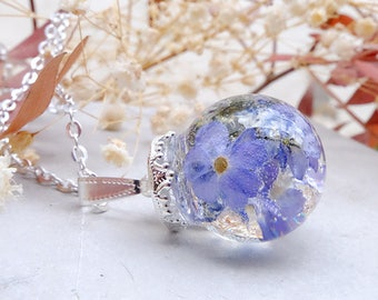 Real flower necklace, forget me not, inspirational gift for woman, terrarium necklace, blue flower necklace,plant necklace, fairytail gift