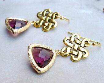 celtic knot earrings, gift for woman, gold earrings, glass earrings, anniversary gift, inspirational, dangle earrings, boho chic earrings