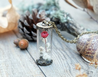 terrarium necklace, botanical jewelry, bridesmaid gift, real flower glass bottle, bridal gift, daisy pendant, real flower terrarium