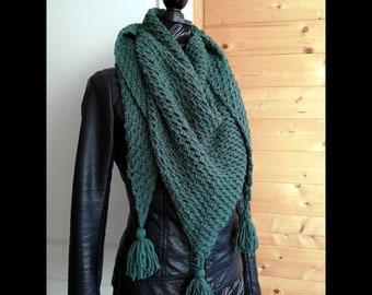 Châle, chèche, étole,foulard, écharpe en laine au crochet style bohème,  accessoires femme, idées cadeaux, couleur vert d eau 90f806bad13