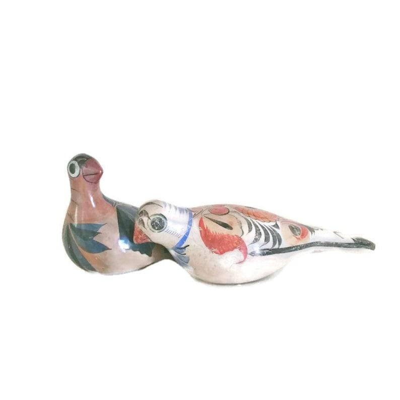 Tonala Bird, Mexico Bird, Mexican Pottery , Hand Made Painted Folk Art  Pottery Zuni doves
