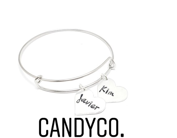 PERSONALISED PHOTO//TEXT ENGRAVED STAINLESS STEEL HEART BANGLE BRACELET