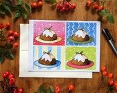 4 Plum Puddings Greeting Card Holiday Card Christmas Card