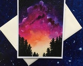 Starry Skies With Trees 2 Blank All Occasions Greeting Card