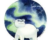 Baby Polar Bear Canadian Animals Nursery Print 8x10 watercolor print