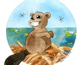 BEAVER Canadian Baby Animals Greeting Card Birthday Card