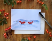 Winter Foxes Holiday or All Occassion Greeting Card