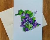 Greeting Card New Brunswick Purple Violet Canadian Provincial Flowers