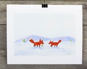 Winter Foxes 8x10 Watercolour Print animals woodland nursery print