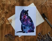 Galaxy Cat Galacticat1 Blank All Occasions Greeting Card