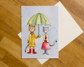Rain Cats Greeting Card...