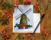 Windmill Blank Holiday Christmas All Occasion Greeting Card