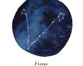 PISCES Constellation Zodiac Greeting Card Birthday Card Astronomy Stars