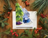 Decorating Mouse Holiday Greeting Card Christmas Card