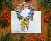 Seashell Wreath Greeting Card Holiday Card All Occassion Card