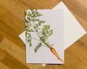 Carrot Greeting Card 5x7 Blank Greeting Card, Botanical Print, Thank You Card,