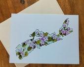 Greeting Card Nova Scotia Mayflower Canadian Provincial Flowers