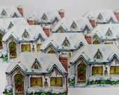 "Christmas House, Diecut Greeting Card 5""x7"" holiday scene, Blank Greeting Card,"