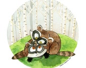 RACCOON Canadian Baby Animals Greeting Card Birthday Card