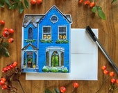 Victorian House Diecut Christmas Holiday Greeting Card