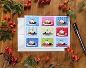 Plum Pudding, Holiday Card, Christmas Card, Christmas Food, Food Art Card
