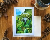 Cottage in the Woods Blank All Occasions Greeting Card