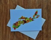 Nova Scotia Autumn Leaves Silhouette Blank All Occasions Greeting Card