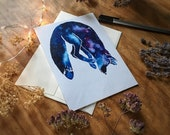 Starry Jumping Fox Blank All Occasions Greeting Card
