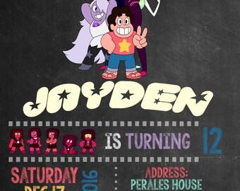 Steven Universe Birthday Invitation-Digital Printable File