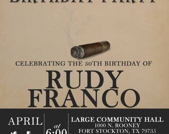 Cigar Birthday Invitation-Digital Printable File