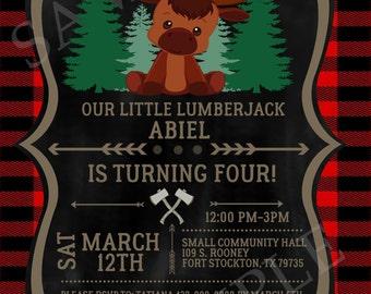 Lumberjack Birthday Invitation--Digital Printable File