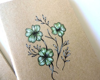 Lucky Notebook Original Illustrated Four Leaf Clover Lucky Artwork Moleskine Pocket Cahier Kraft Notebook Journal Botanical Leaves Design