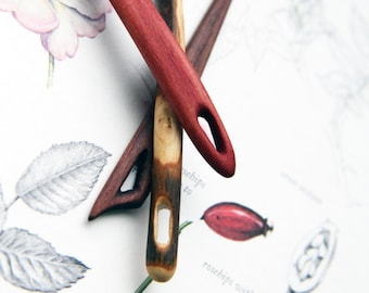 wooden needles, sewing needles, knitting needles, nalbinding, nordic, weaving loom craft work, spalted wood, red oak, set of three