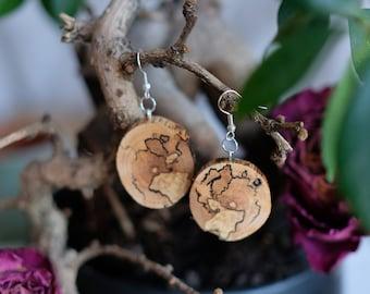 spalted wood earrings, wood earrings, dangle earrings, one of the kind, nature earrings, round earrings, wooden earrings, earrings