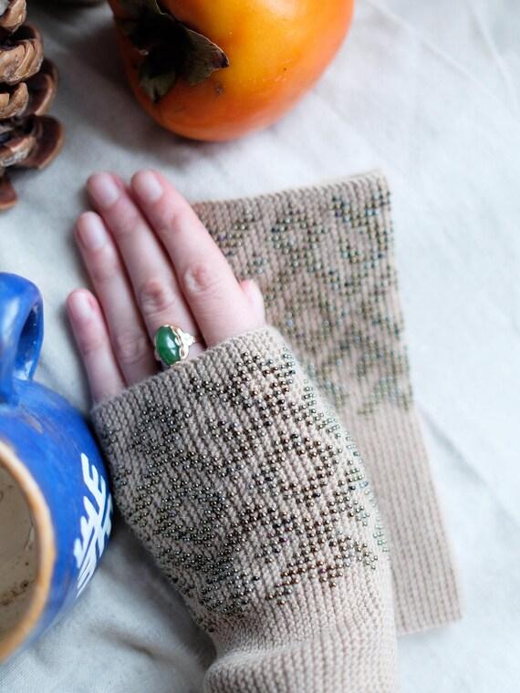 Perlen Pulswärmer Stulpen wristers fingerlose