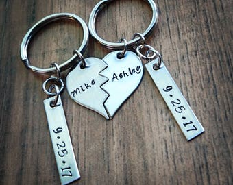 Hand Stamped Personalized Split Heart Keychain - Couples Keychain - Wedding Gift or Anniversary Gift