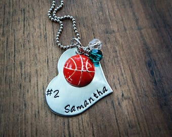 Hand Stamped Personalized Basketball Necklace - Girls Basketball Gift - Basketball Team Gift - Basketball Gifts