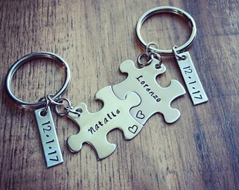 Hand Stamped Personalized Couples Puzzle Piece Keychains - Anniversary  Keychains - Wedding Gift - Couples Keychain - 78b0e54d30