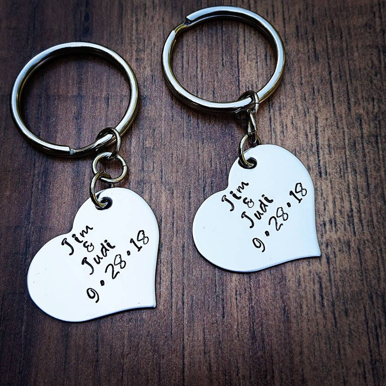 Couples Gift Set Anniversary Gifts Gift for Couples Hand Stamped Personalized Keychain Wedding Gifts Couples Keychain Set