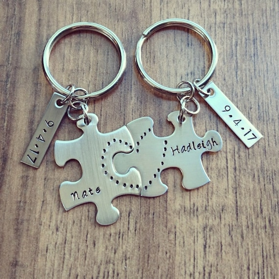 279be1dc861c4 Hand Stamped Personalized Couples Keychain Couples Puzzle