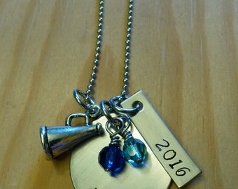 Hand Stamped Personalized Cheerleader Necklace - Cheer Team Gifts - Cheerleader Gifts - Senior Gift - Cheerleader Gift