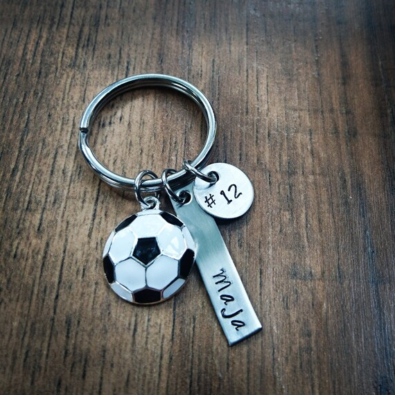 hand stamped personalized soccer keychain soccer team gift etsy