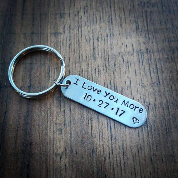 Hand Stamped Personalized Couples Keychain I Love You More Keychain Wedding Gift Anniversary Gift Boyfriend Gift
