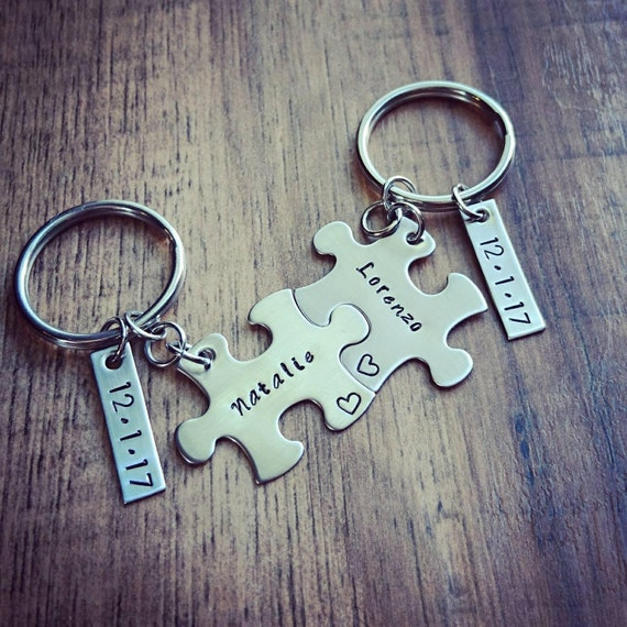 7c005da167ea9 Hand Stamped Personalized Couples Puzzle Piece Keychains