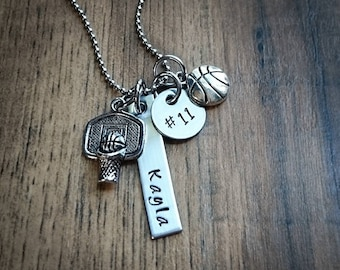 Hand Stamped Personalized Basketball Necklace - Basketball Mom - Girls basketball team gift - Basketball Gifts