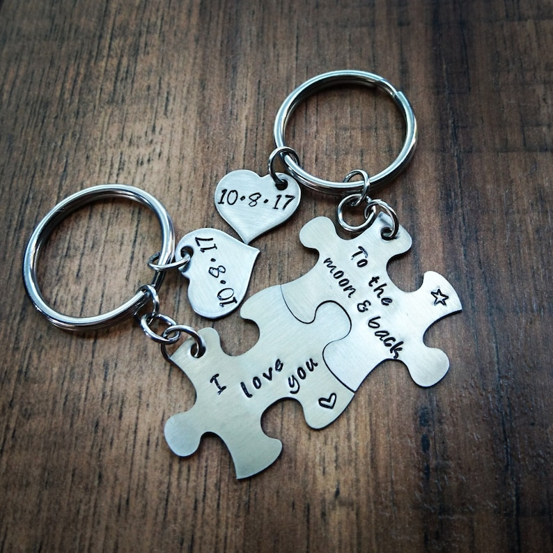 e9186817279f2 Hand Stamped Personalized Keychain Couples Puzzle Piece