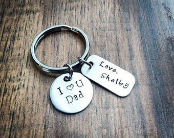 Hand Stamped Personalized I love you Dad Keychain - Fathers day gift - Dad Gift -