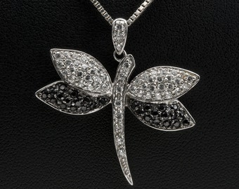 Victoria Wieck Black & White Pave CZ Drangonfly Pendant with Box Chain