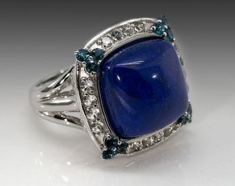 Victoria Wieck Lapis and London Blue Topaz Ring Size 6